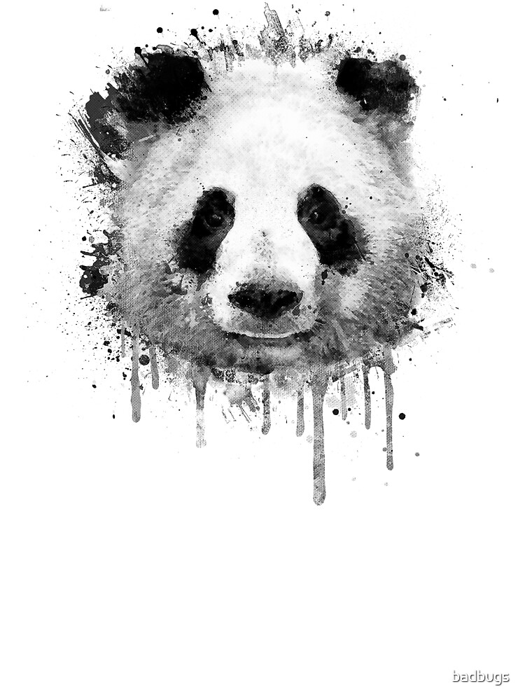 Cool Abstract Graffiti Watercolor Panda Portrait In Black White Baby One Piece