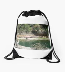 Hippos: This sun is hot! Drawstring Bag