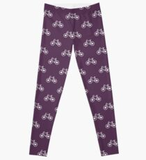 Pink Bicycle Love - Fixie Hearts Leggings