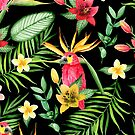 «Aves tropicales y flores. Patrón negro» de JuliaBadeeva