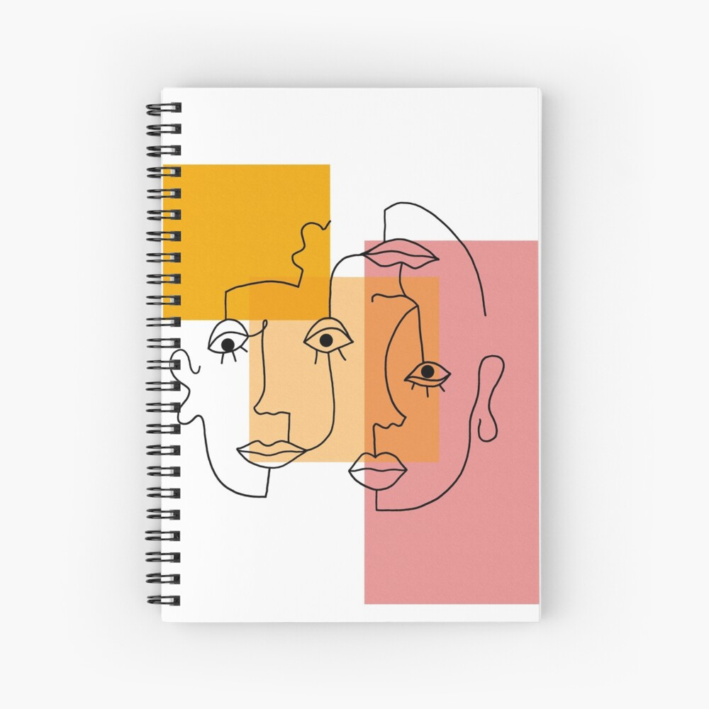 COLOR BLOCK LINE FACES Spiral Notebook