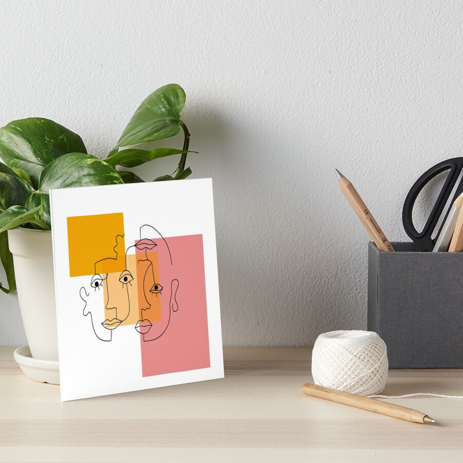 COLOR BLOCK LINE FACES Art Board Print