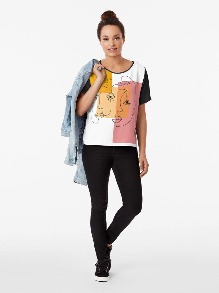 Alternate view of COLOR BLOCK LINE FACES Chiffon Top