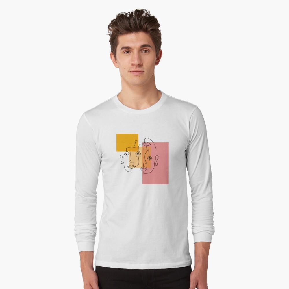 COLOR BLOCK LINE FACES Long Sleeve T-Shirt