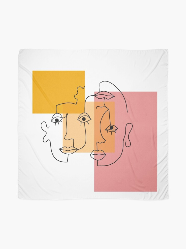 Alternate view of COLOR BLOCK LINE FACES Scarf