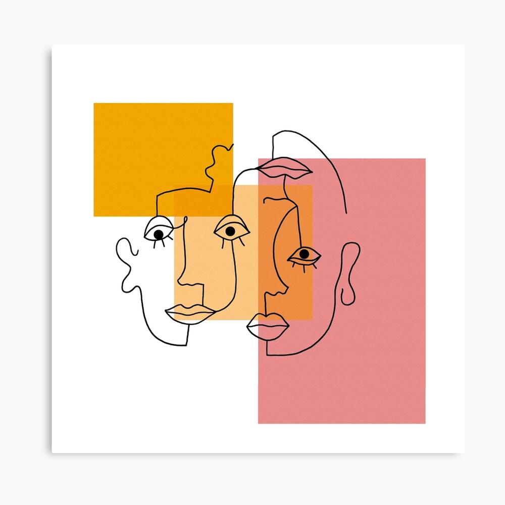 COLOR BLOCK LINE FACES Canvas Print