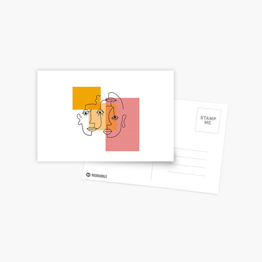 COLOR BLOCK LINE FACES Postcard