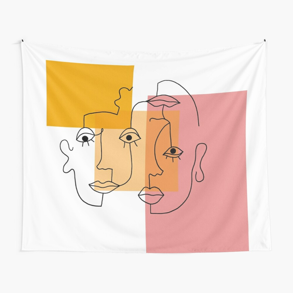 COLOR BLOCK LINE FACES Wall Tapestry