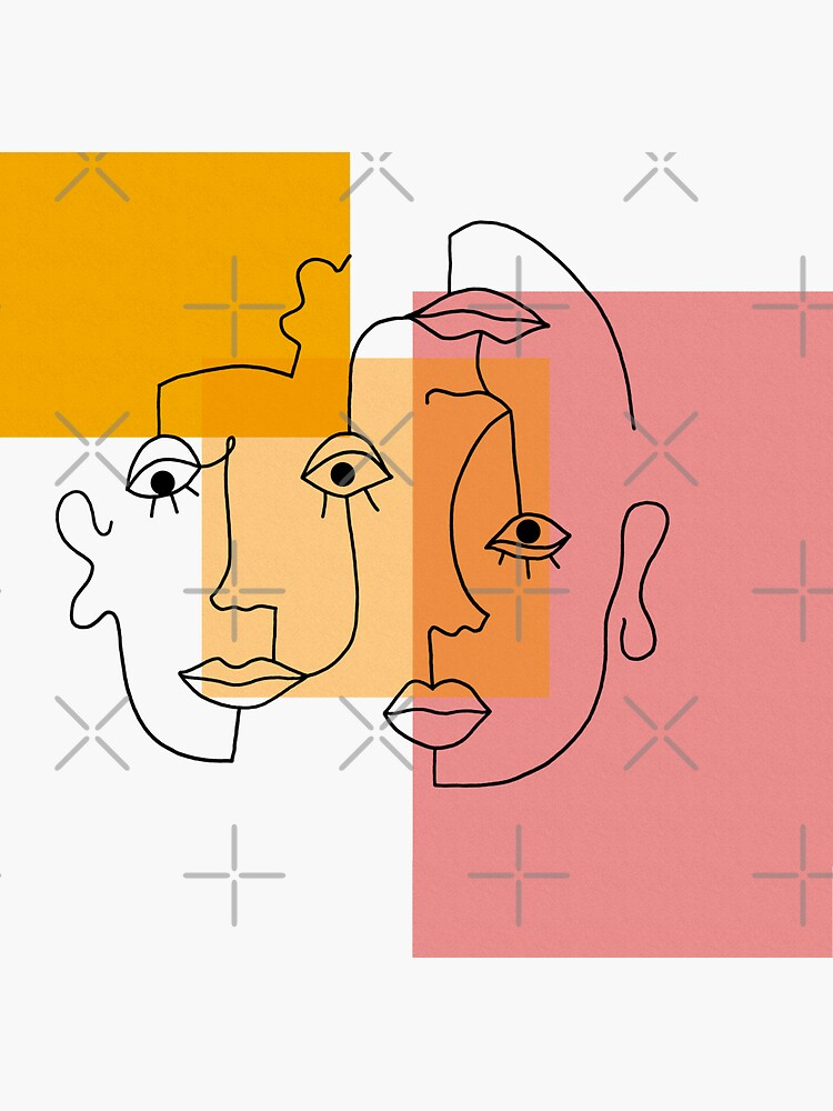 COLOR BLOCK LINE FACES by r0undincircles