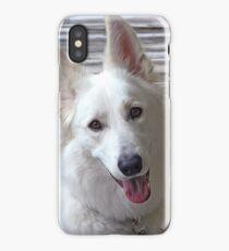 Smiling White German Shepherd Dog  iPhone Case