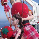 Doll on Vacation Holding a Red Pin Cushion by IvanaKada