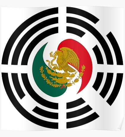 Korean Mexican Multinational Patriot Flag Series Poster