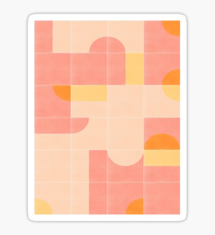 Retro Tiles 02 #redbubble #pattern Glossy Sticker