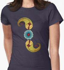 Curious Fish with Water Lily Women's Fitted T-Shirt