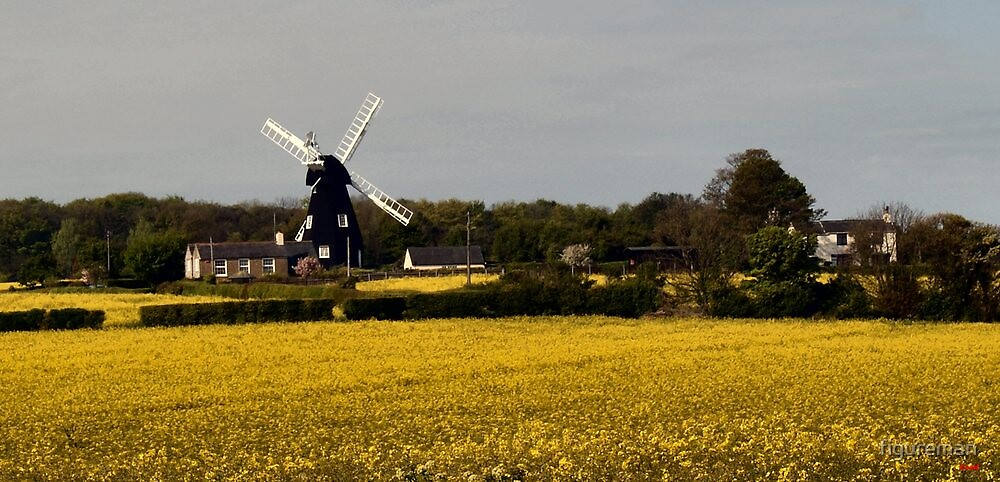 Windmill on a dull day by figureman