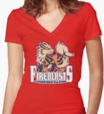 Cinnabar Island Fire Blasts: Arcanine Sport Logo Women's Fitted V-Neck T-Shirt