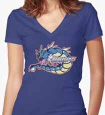 Cerulean City Hydro Pumps: Gyarados Sport Logo Women's Fitted V-Neck T-Shirt