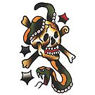 Traditional Snake and Skull Tattoo Design by FOREVER TRUE TATTOO