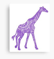 Printed Giraffe - Purple Canvas Print