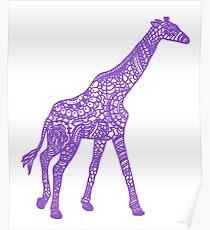 Printed Giraffe - Purple Poster