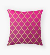 Moroccan Pattern - Pink & Gold Throw Pillow
