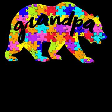 Grandpa Bear Matching Puzzle Family Autism Awareness Month Autism Awareness matching cute puzzle bear design for family light it up blue support autistic asperger by bulletfast