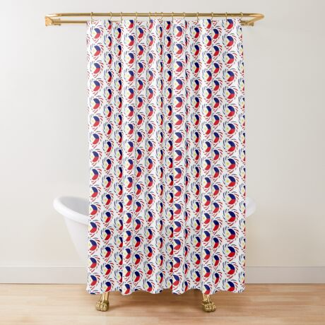 Filipino American Multinational Patriot Flag Series (Heart) Shower Curtain