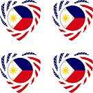 Filipino American Multinational Patriot Flag Series (Heart) by Carbon-Fibre Media