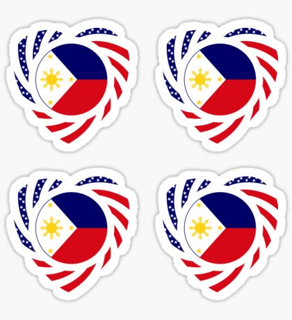 Filipino American Multinational Patriot Flag Series (Heart) Glossy Sticker