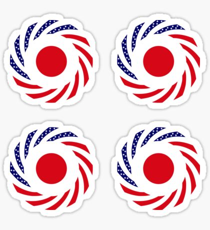 Japanese American Multinational Patriot Flag Series Glossy Sticker