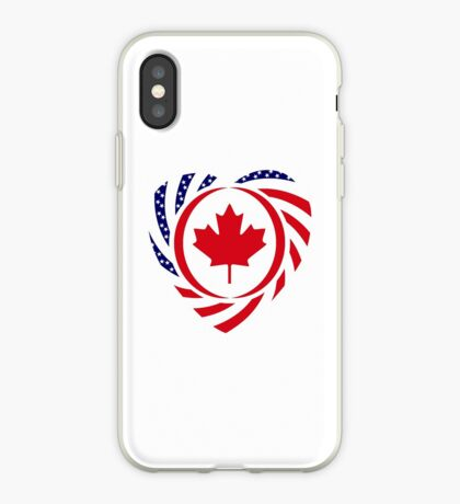 Canadian American Multinational Patriot Flag Series (Heart) iPhone Case