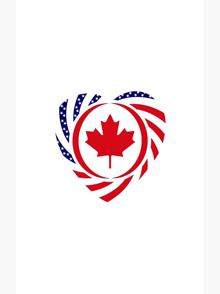 Canadian American Multinational Patriot Flag Series (Heart) by carbonfibreme