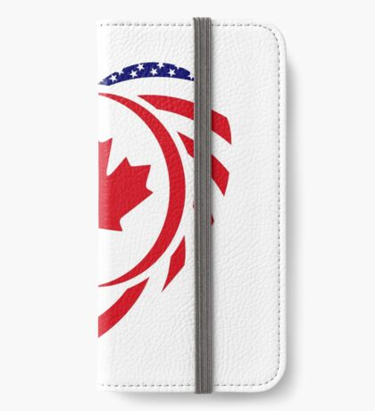 Canadian American Multinational Patriot Flag Series (Heart) iPhone Wallet