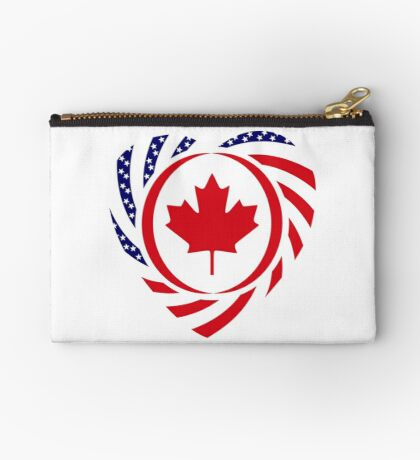 Canadian American Multinational Patriot Flag Series (Heart) Zipper Pouch