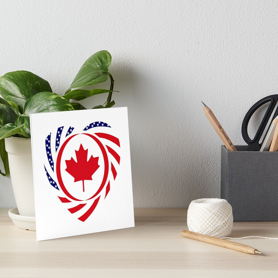 Canadian American Multinational Patriot Flag Series (Heart) Art Board Print