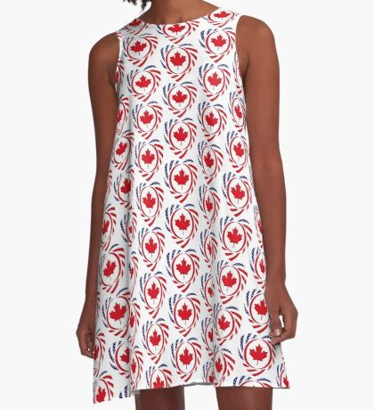 Canadian American Multinational Patriot Flag Series (Heart) A-Line Dress