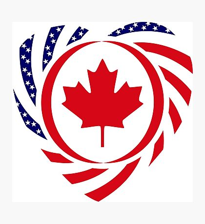 Canadian American Multinational Patriot Flag Series (Heart) Photographic Print