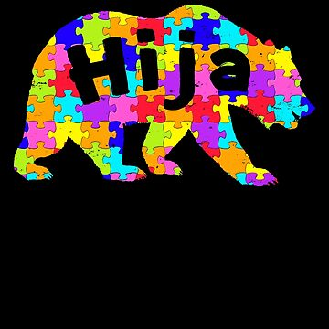 Hija Bear Latino Autism Awareness Spanish Mexican Autism Awareness matching cute puzzle bear design for family light it up blue support autistic asperger by bulletfast