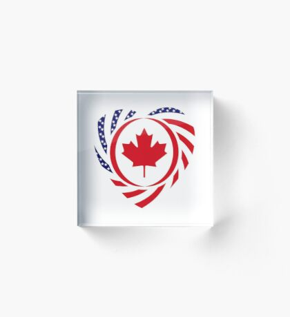 Canadian American Multinational Patriot Flag Series (Heart) Acrylic Block