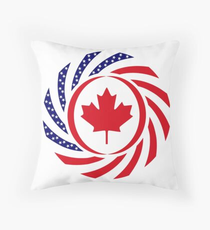 Canadian American Multinational Patriot Flag Series Throw Pillow