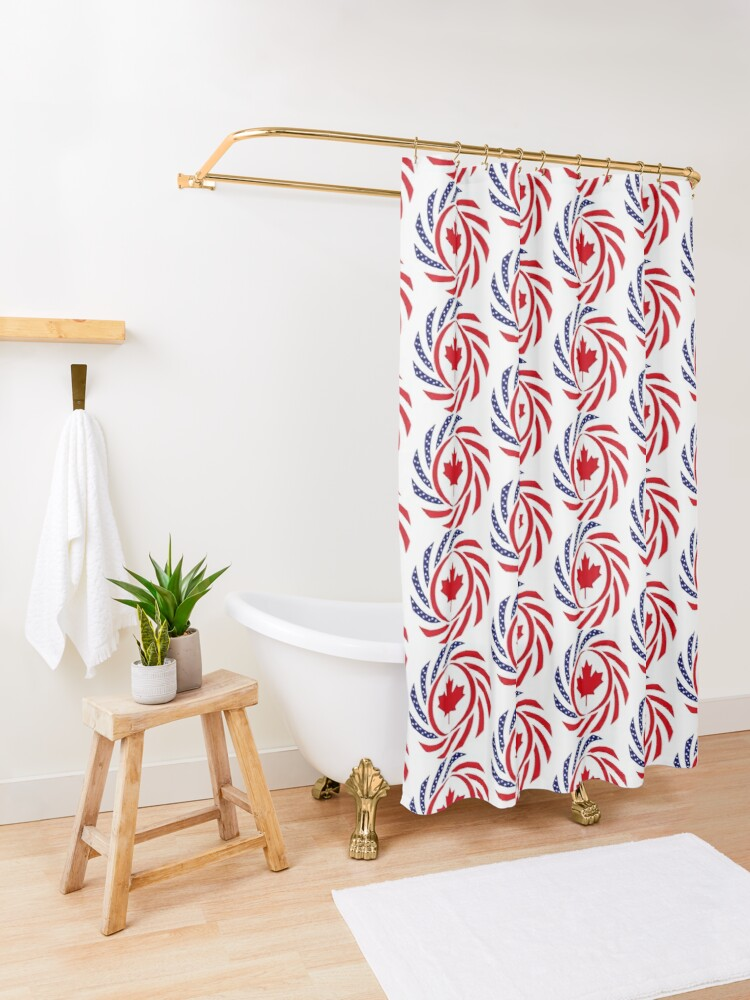Alternate view of Canadian American Multinational Patriot Flag Series Shower Curtain