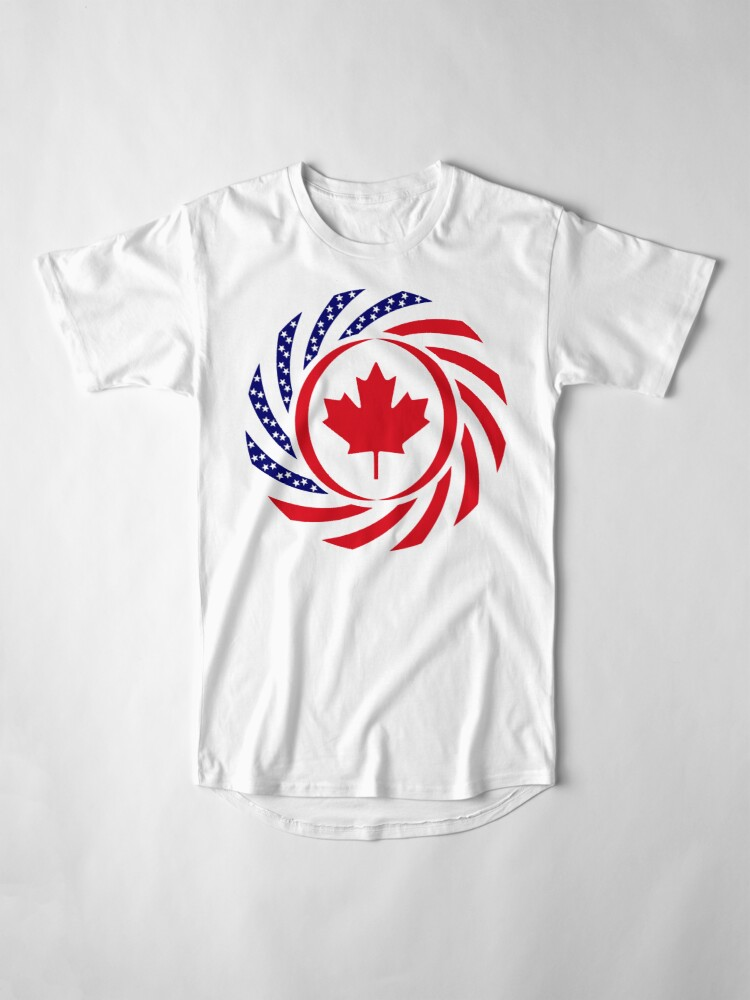 Alternate view of Canadian American Multinational Patriot Flag Series Long T-Shirt
