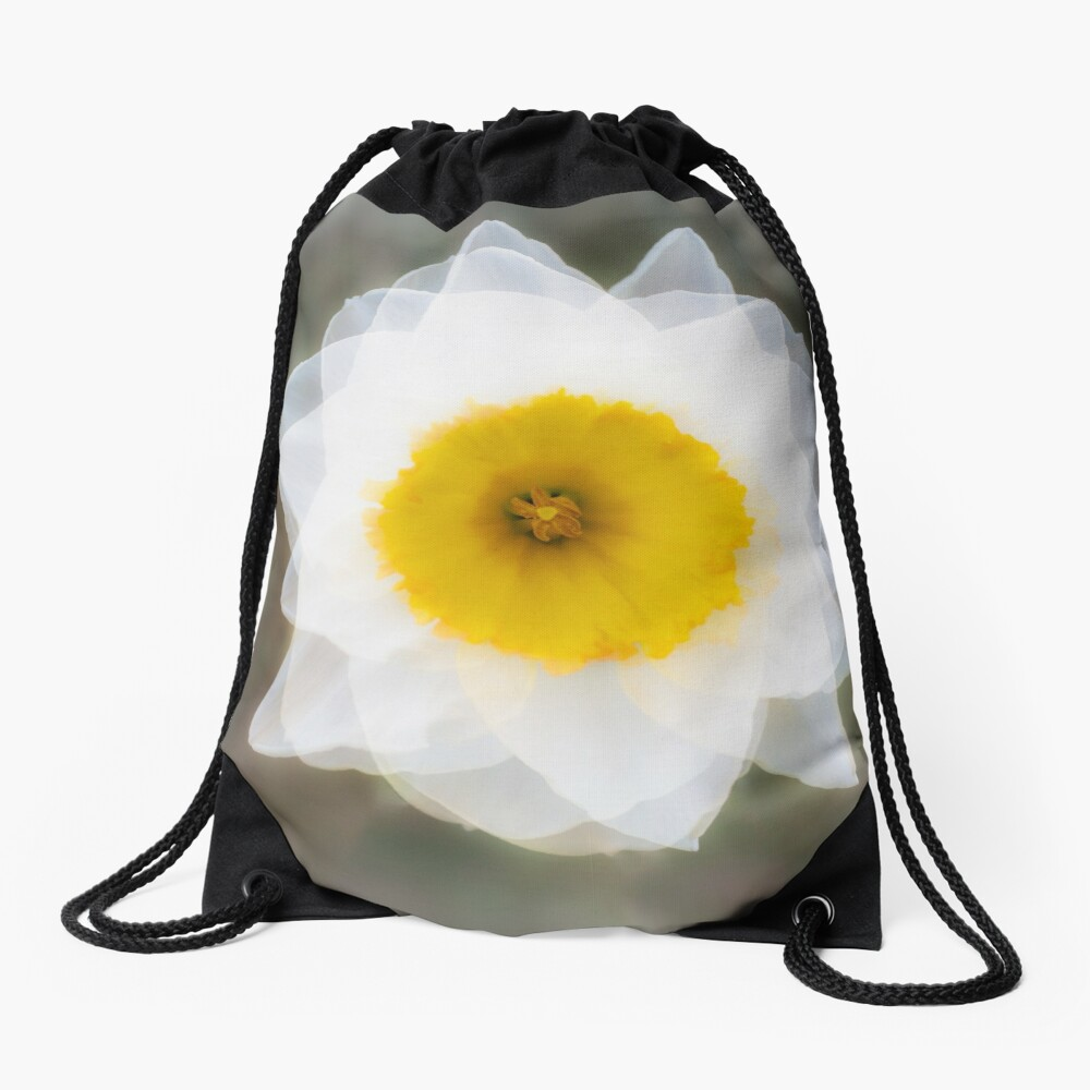 The Elegant and Beautiful Abstract Image of a White Daffodil Flower Drawstring Bag