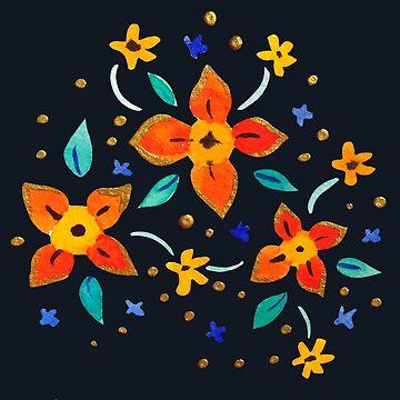 Florales de primavera azul profundo de skinnyginny