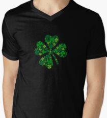 Camiseta de cuello en V afortunado trébol de cuatro hojas, trébol verde