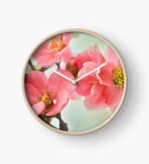 Watercolor Coral Quince Clock