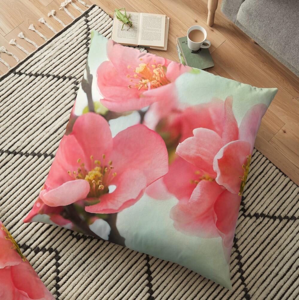 Watercolor Coral Quince Floor Pillow