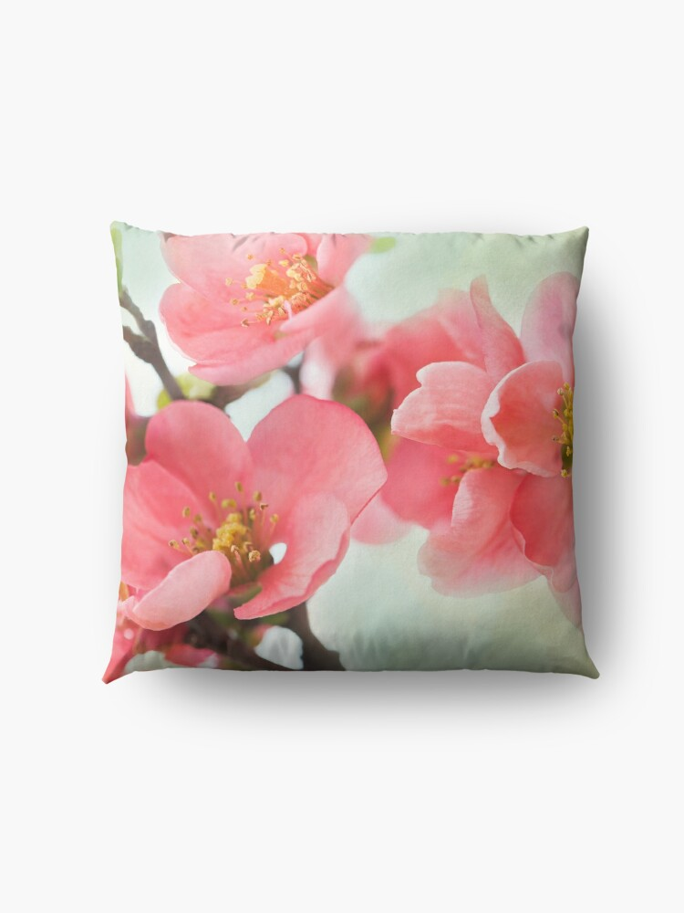 Alternate view of Watercolor Coral Quince Floor Pillow