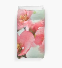 Watercolor Coral Quince Duvet Cover