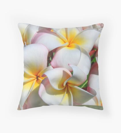 Soft Plumeria Natural Bouquet Throw Pillow
